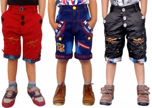 Short For Boys Casual Solid Cotton  PACK OF 3 JEANS RED BLACK