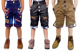 Short For Boys Casual Solid Cotton  PACK OF 3 JEANS KHAKI BLACK