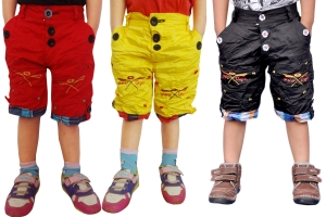 Short For Boys Casual Solid Cotton  PACK OF 3 BLACK RED YELLOW