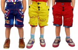 Short For Boys Casual Solid Cotton PACK OF 3 JEANS_YELLO_RED_SHORTS