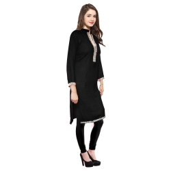 Festive & Party Embellished Women Kurti  (Black)