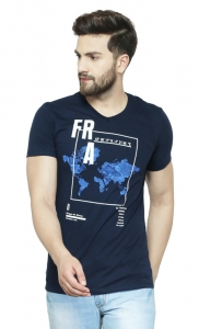 AD & AV Solid Men's V-neck NAVY T-Shirt HS (716)